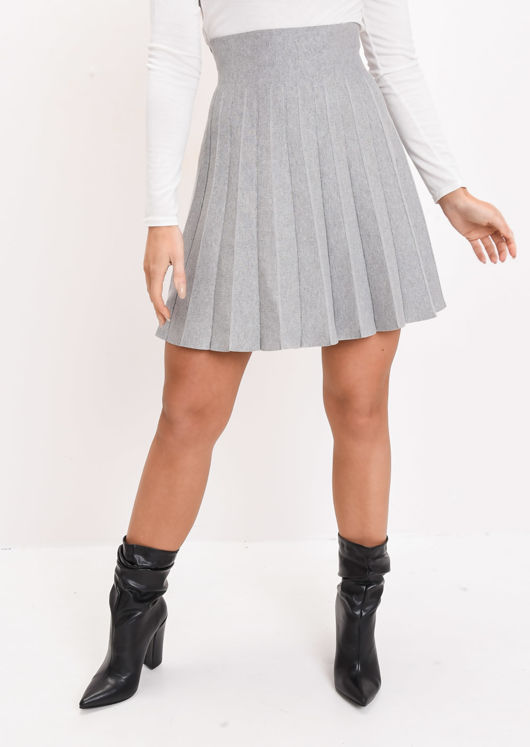 Pleated Knit Mini Skirt Grey