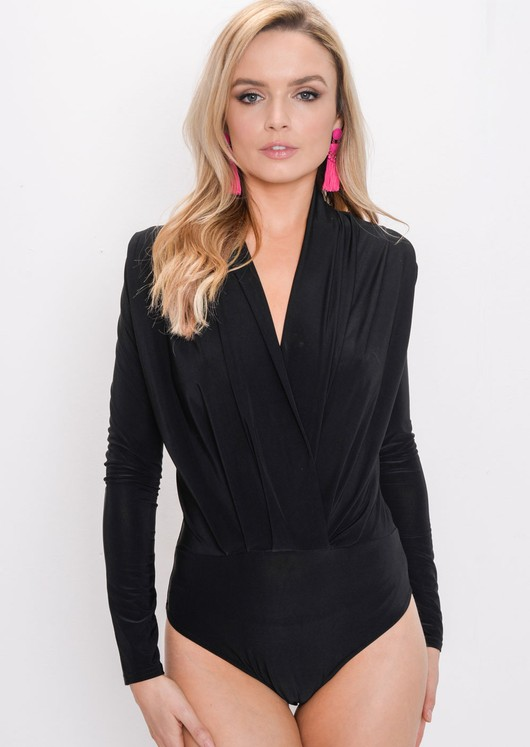 Pleated Long Sleeve Plunge Bodysuit Black