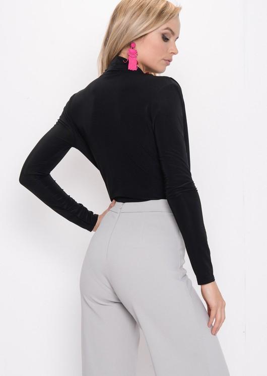 Pleated Long Sleeve Plunge Bodysuit Black