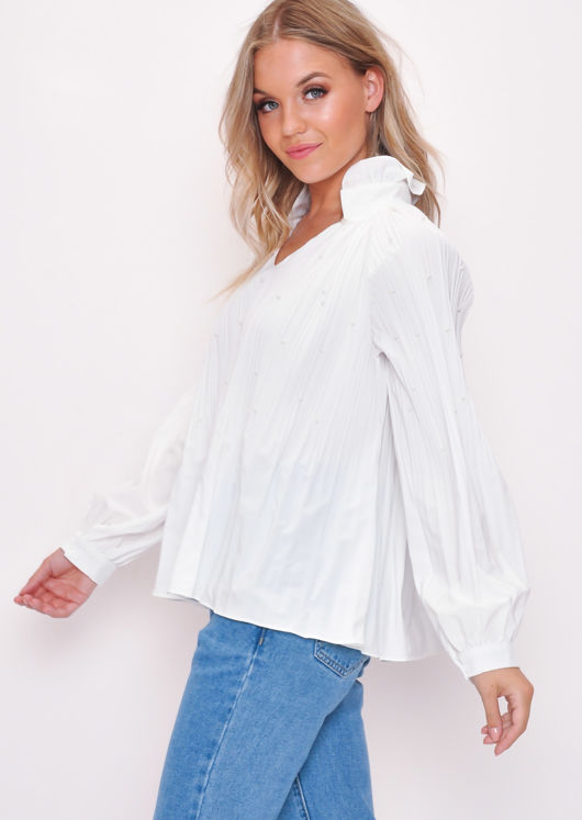 Pleated Pearl Embellished Blouse Top White