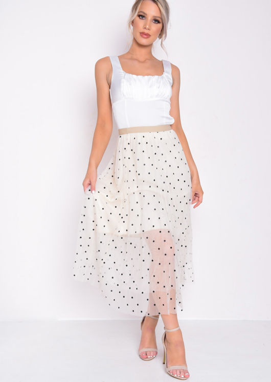 Pleated Polka Dot High Waisted Midi Skirt Beige