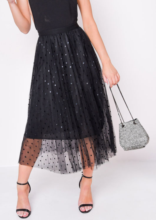 Pleated Polka Dot High Waisted Midi Skirt Black