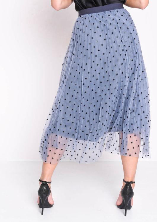 Pleated Polka Dot High Waisted Midi Skirt Blue