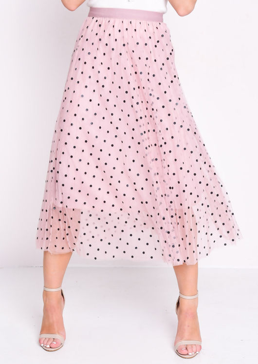 Pleated Polka Dot High Waisted Midi Skirt Pink