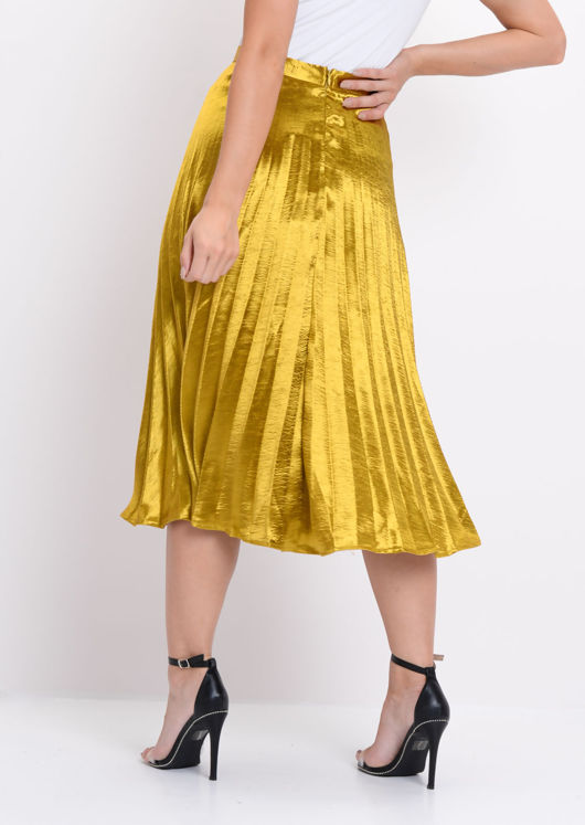 Pleated Satin Metallic Midi Skirt Mustard Gold