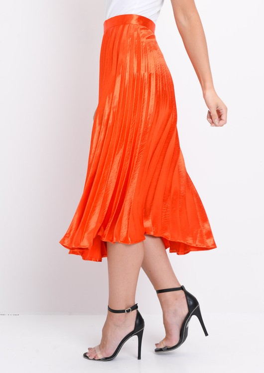 Pleated Satin Metallic Midi Skirt Orange