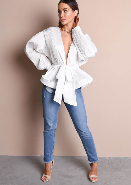 Pleated V Neckline Satin Tie Front Blouse White