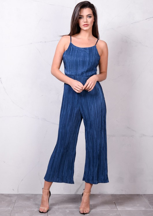 Pleated Strappy Open Back Culotte Jumpsuit Metallic Blue