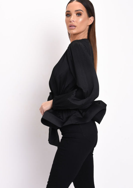 Pleated V Neckline Satin Tie Front Blouse Black