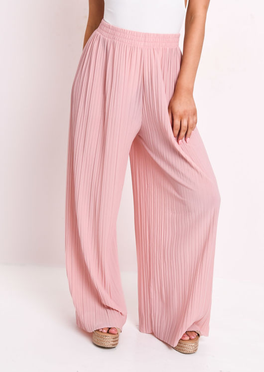 Pleated Wide Leg Trousers Pink