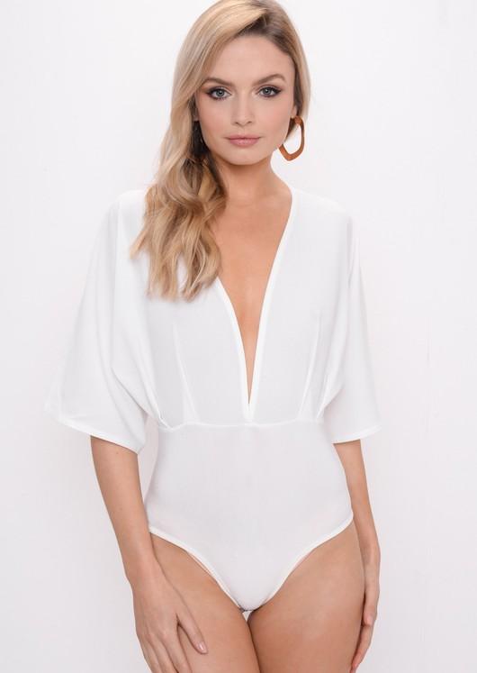 Plunge Batwing Sleeve Bodysuit White