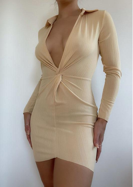 Collared Plunge Neck Twist Front Mini Bodycon Dress Beige