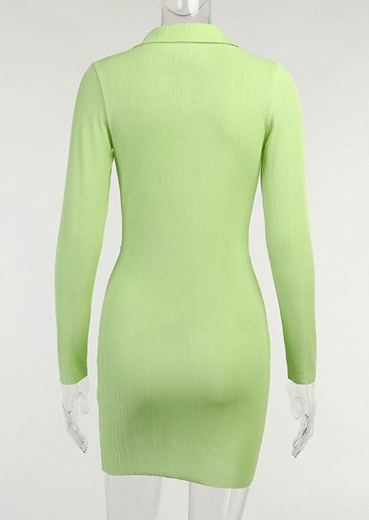 Plunge Collared Neckline Twist Front Mini Dress Beige