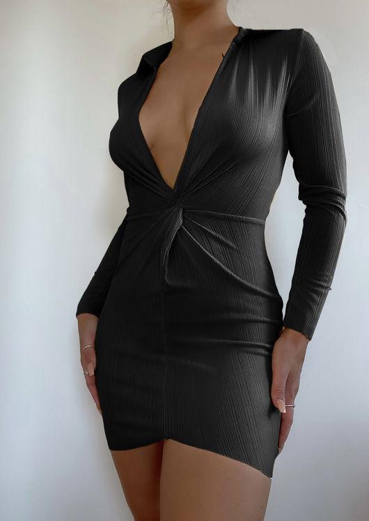 Collared Plunge Neck Twist Front Mini Bodycon Dress Black