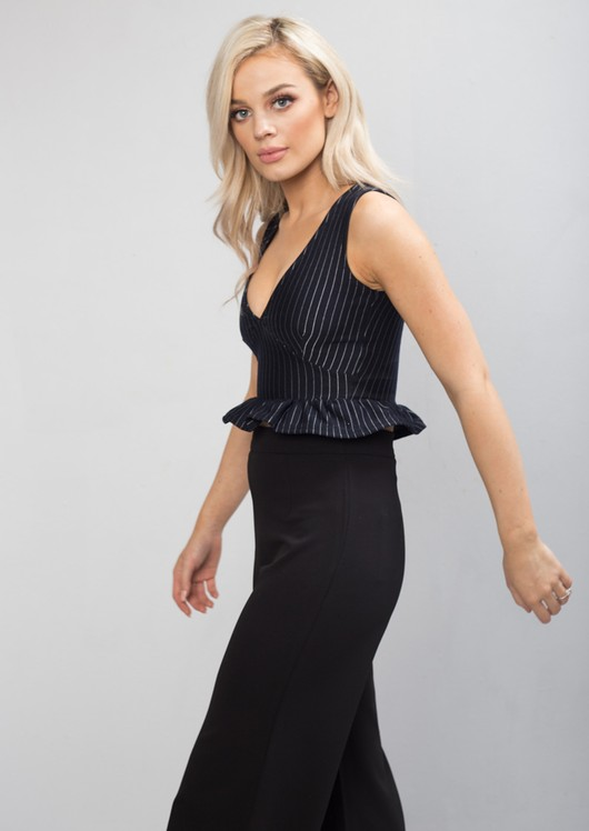 Plunge Frill Stripe Peplum Crop Top Navy