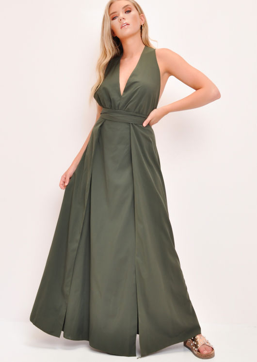 Plunge Front Split Leg Maxi Dress Khaki Green