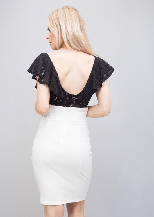 Plunge LaceFrill Bodysuit Black