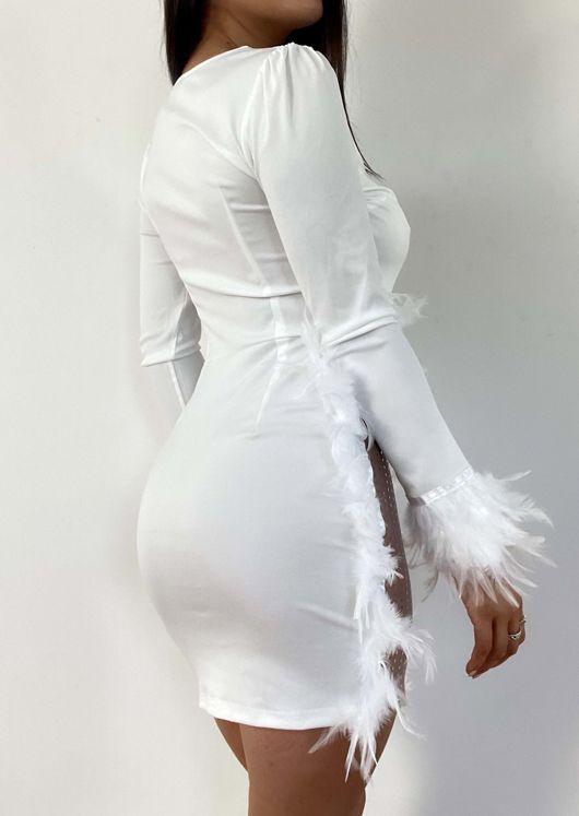Plunge Mesh Neckline Feather Trim Side Split Mini Dress White