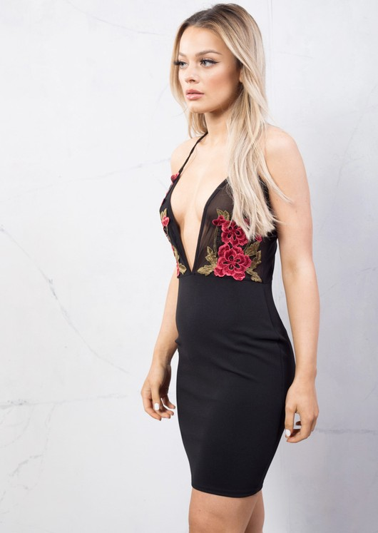 Plunge Neck Floral Embroidered Mesh Backless Bodycon Dress Black