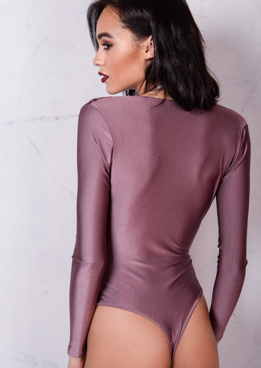 Plunge Neck Harness Bodysuit Plum Purple