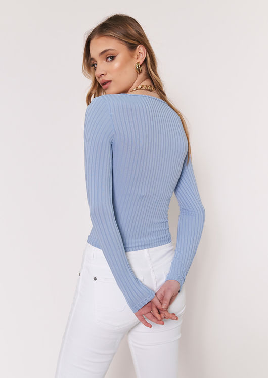 Plunge Neck Pearl Button Ribbed Cardigan Top Blue
