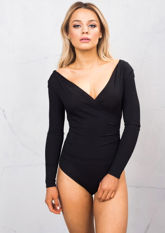 Plunge Neck Wrap Ribbed Jersey Over Long Sleeve Bodysuit Black