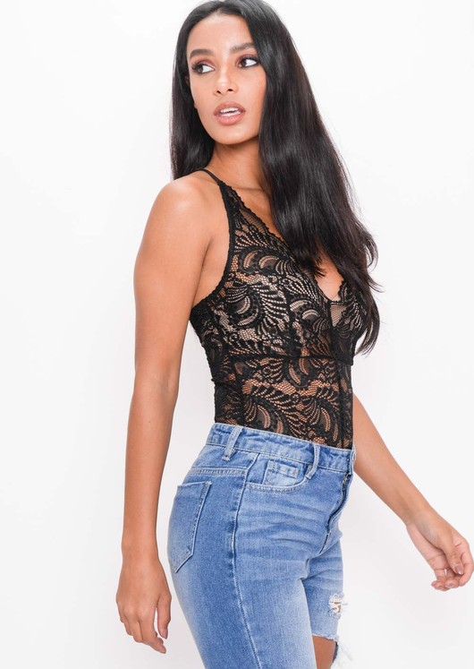 Plunge Sheer Lace Cross Back Bodysuit Black
