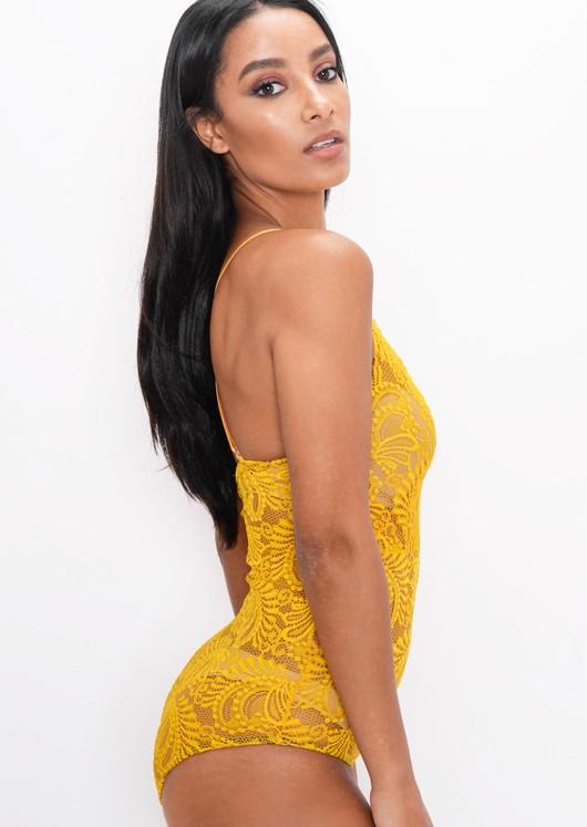 Plunge Sheer Lace Cross Back Bodysuit Mustard Yellow