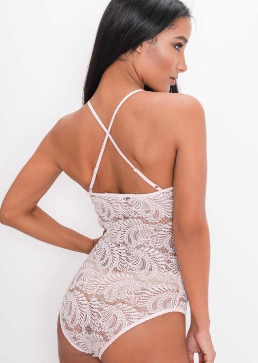 Plunge Sheer Lace Cross Back Bodysuit Pink