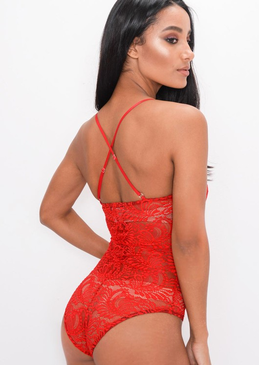 Plunge Sheer Lace Cross Back Bodysuit Red