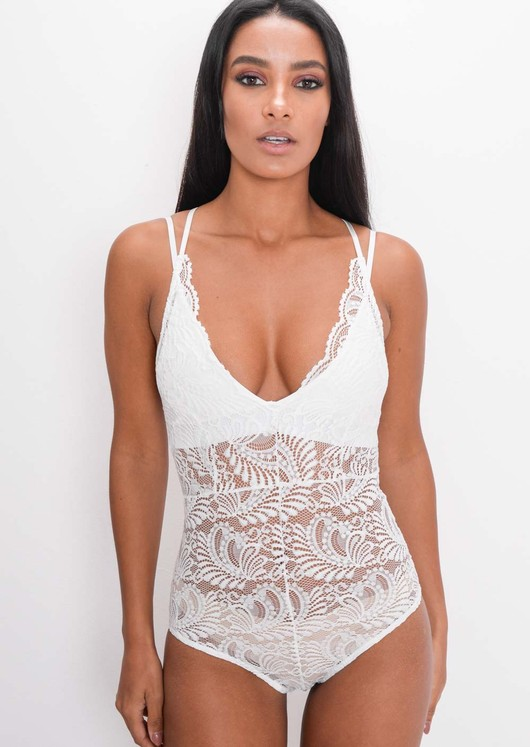 Plunge Sheer Lace Cross Back Bodysuit White