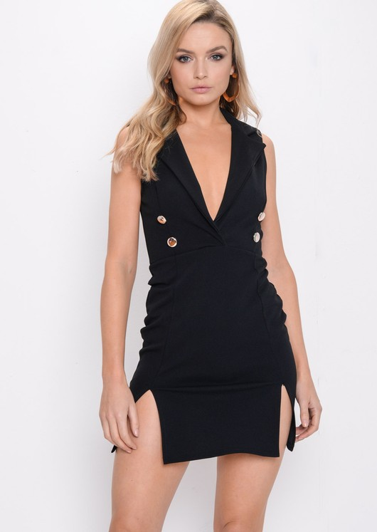 Plunge Sleeveless Mini Blazer Dress Black
