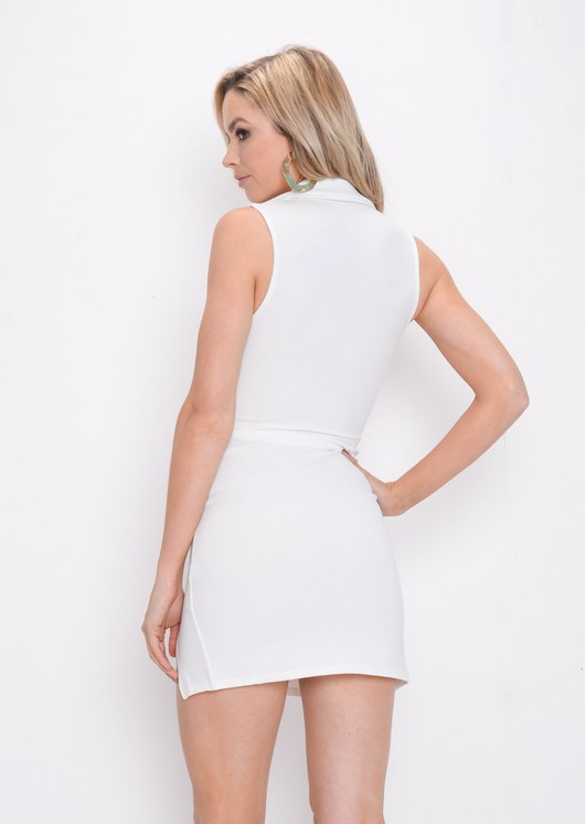 Plunge Sleeveless Mini Blazer Dress White