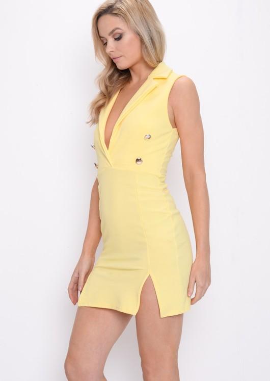Plunge Sleeveless Mini Blazer Dress Yellow