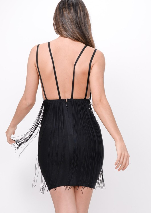 Plunge Tassel Detail Bodycon Dress Black