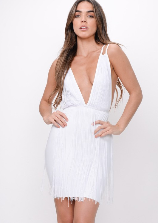 Plunge Tassel Detail Bodycon Dress White
