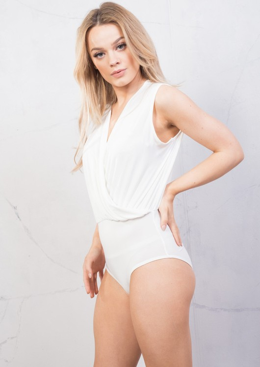 Plunge Wrap Over Bodysuit White