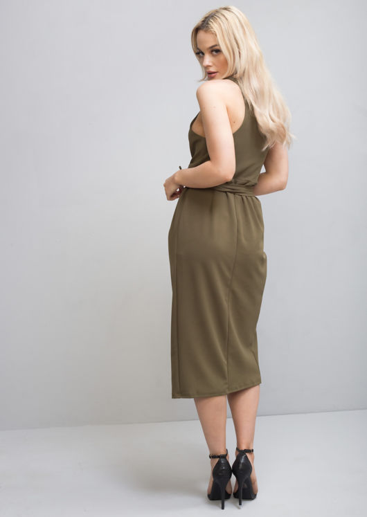 Plunge Wrap Over Tie Midi Dress Khaki Green