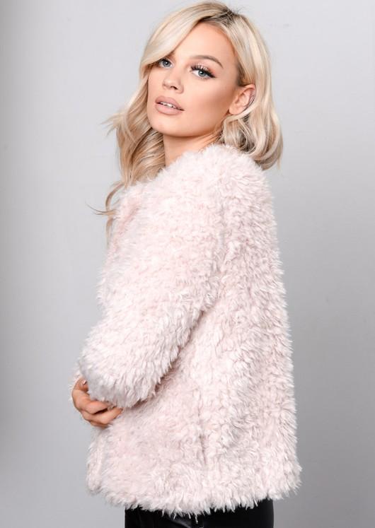 Plush Faux Fur Cropped Jacket Pink