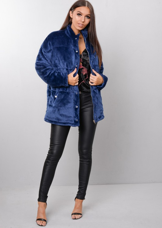 Plush Faux Fur Padded Puffer Jacket Coat Navy Blue
