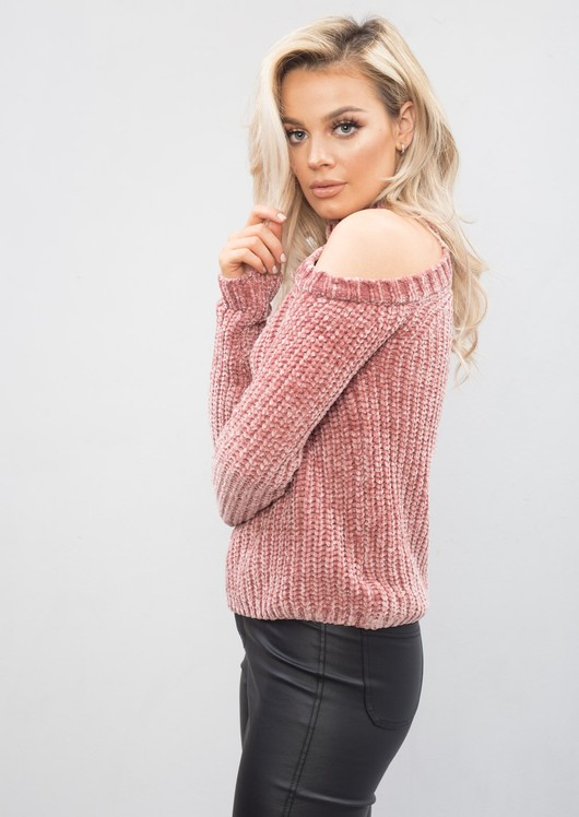 Plush Knit High Neck Cold Shoulder Jumper Pink