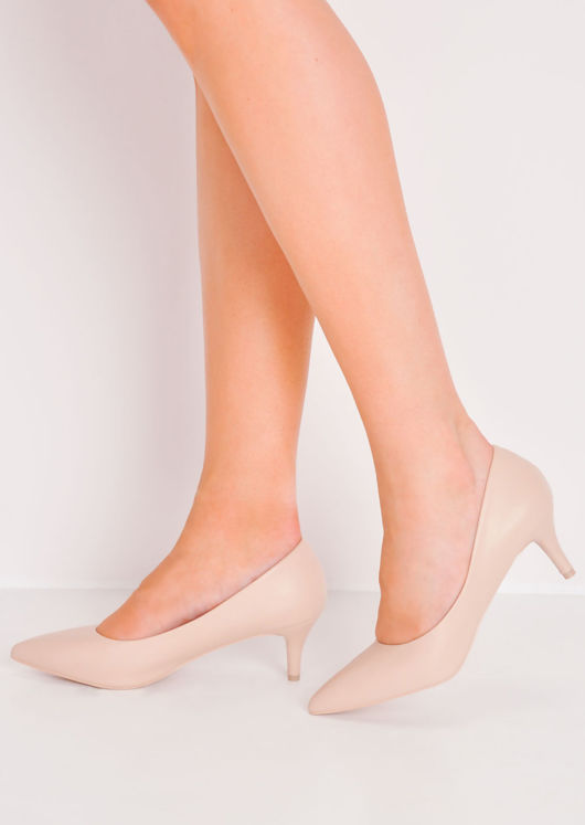 Pointed Faux Leather kitten heel court shoes Beige