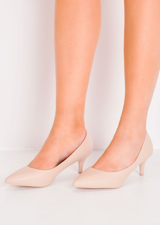 Pointed Faux Leather Court Heels Beige