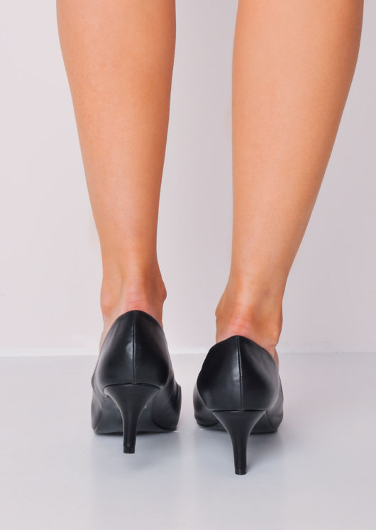 Pointed Faux Leather Court Heels Black