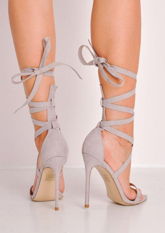 Pointed Lace Up Stiletto High Heeled Sandals Grey