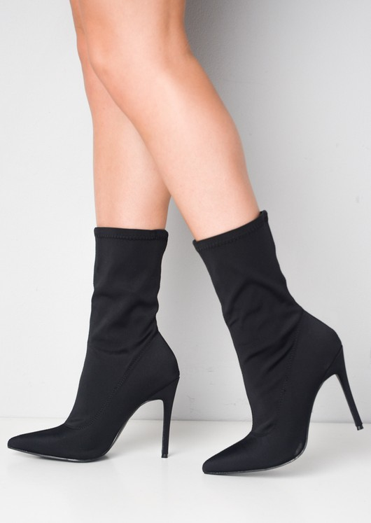 black pointed sock boots