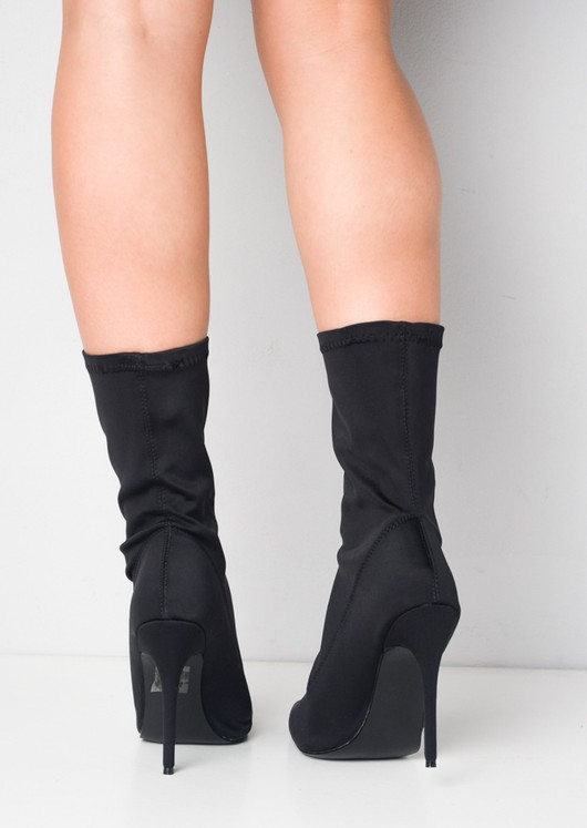 Pointed Stiletto Heeled Stretch Ankle Sock Boots Black