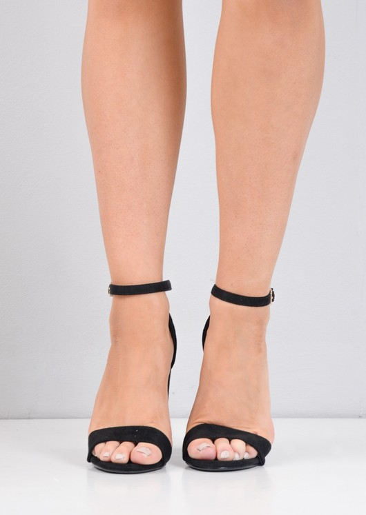 Pointed Strappy Chunky Heeled Sandals Faux Suede Black
