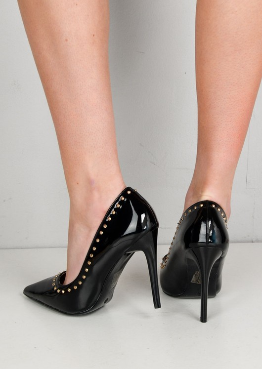 Pointed Pointed Studded Stiletto Court Heels Black