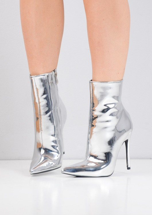 Pointy Toe Metallic Stiletto Heeled Ankle Boots Silver